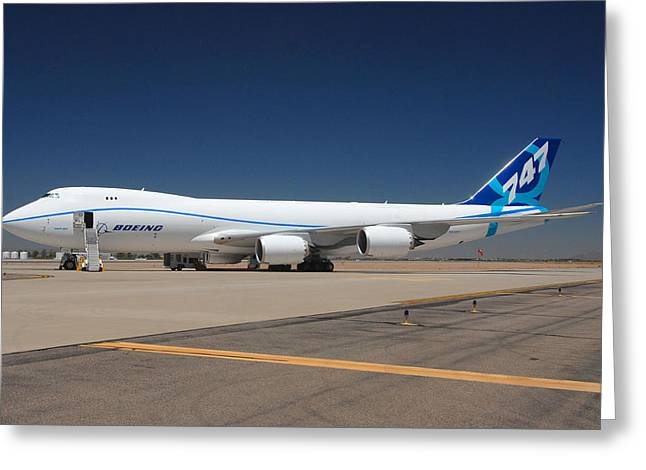 Boeing 747-8 N50217 At Phoenix-mesa Gateway Airport Greeting Card by Brian Lockett