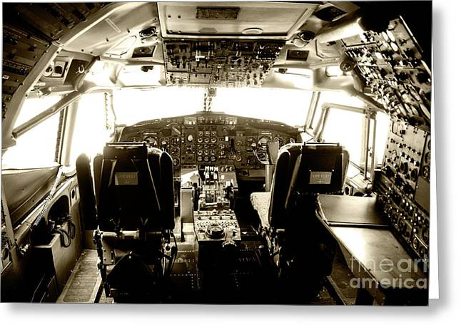 Greeting Card featuring the photograph Boeing 747 Cockpit 21 by Micah May