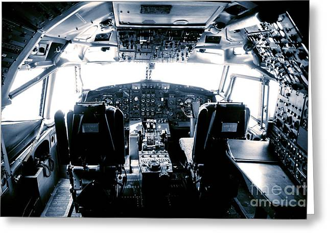 Greeting Card featuring the photograph Boeing 747 Cockpit 22 by Micah May