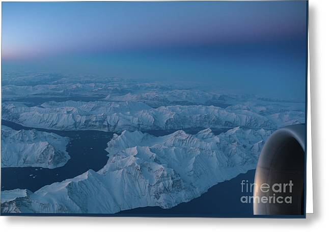 Boeing 777 Flying Over Greenland Fjords Greeting Card by Mike Reid