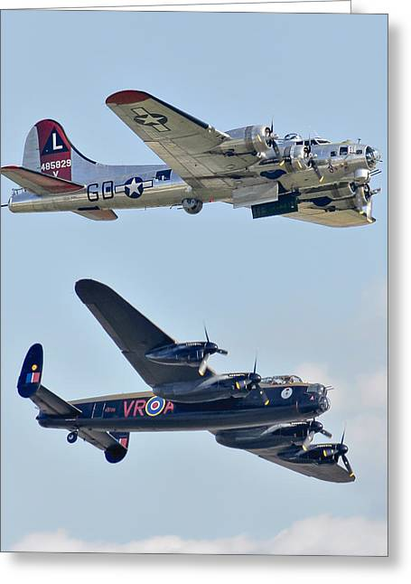 Boeing B-17g Flying Fortress And Avro Lancaster Greeting Card