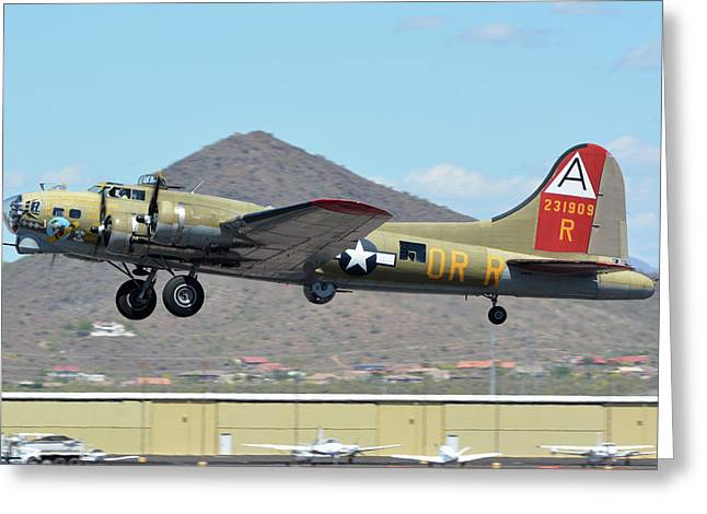 Greeting Card featuring the photograph Boeing B-17g Flying Fortress N93012 Nine-o-nine Deer Valley Arizona April 13 2016 by Brian Lockett