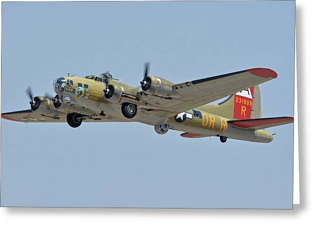 Greeting Card featuring the photograph Boeing B-17g Flying Fortress N93012 Nine-o-nine Phoenix-mesa Gateway Airport Arizona April 15, 2016 by Brian Lockett