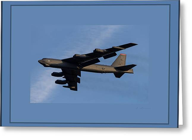 Boeing B-52 Stratofortress Taking Off From Tinker Air Force Base Oklahoma With Quadruple Border Greeting Card