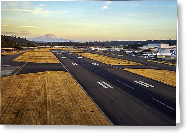 Boeing Field And Mount Rainier Greeting Card by Mike Reid