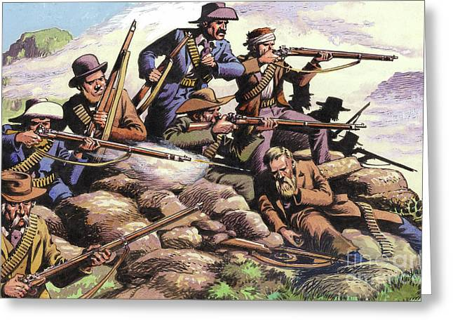 Boers Of The Transvaal Fighting At Majuba Hill During The First Boer War Greeting Card by Pat Nicolle