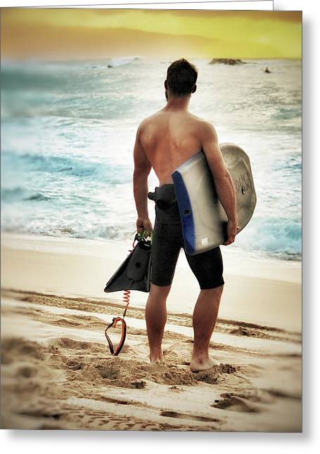 Boggie Boarder At Waimea Bay Greeting Card