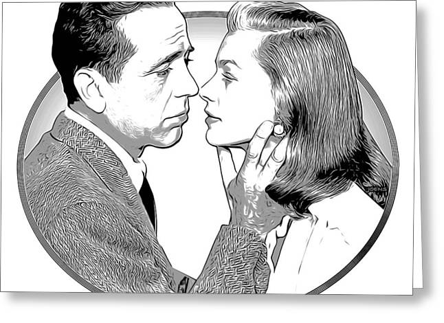 Bogie And Bacall Greeting Card by Greg Joens