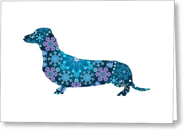 Bohemian Blue Dachshund Greeting Card