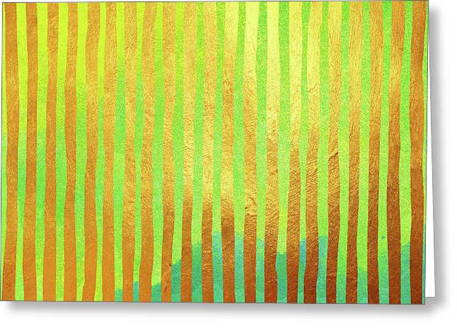 Bohemian Gold II Stripes Abstract Art Greeting Card by Tina Lavoie