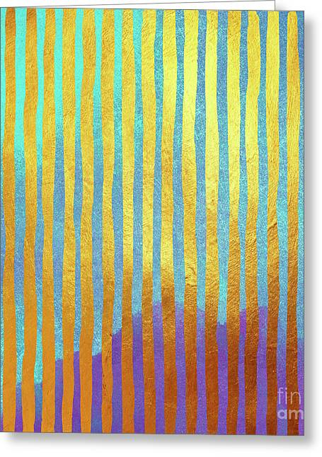 Bohemian Gold Stripes Abstract Greeting Card by Tina Lavoie