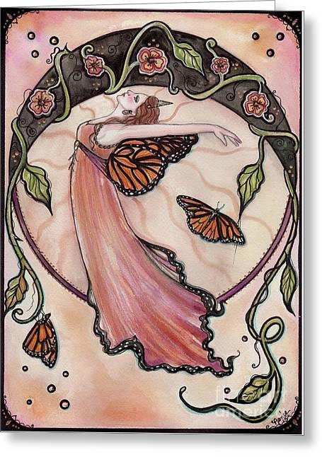 Bohemian Nouveau Fairy Greeting Card by Renee Lavoie