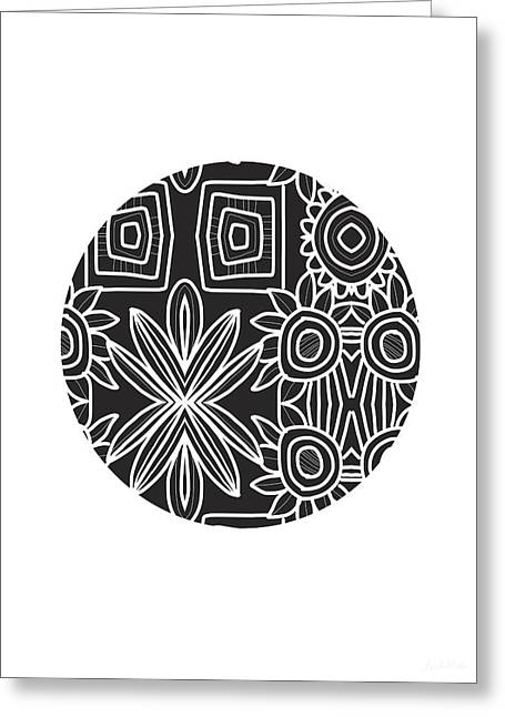Boho Black And White Ball 1- Art By Linda Woods Greeting Card by Linda Woods