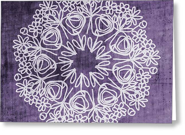 Boho Floral Mandala 2- Art By Linda Woods Greeting Card
