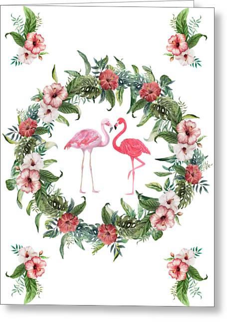 Greeting Card featuring the digital art Boho Floral Tropical Wreath Flamingo by Georgeta Blanaru