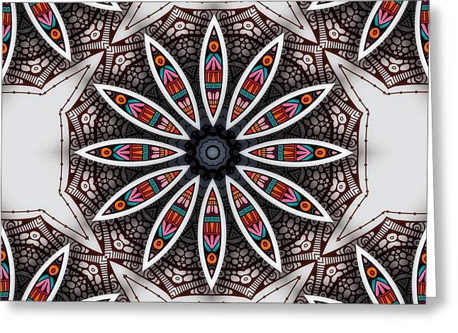 Greeting Card featuring the digital art Boho Flower by Mo T