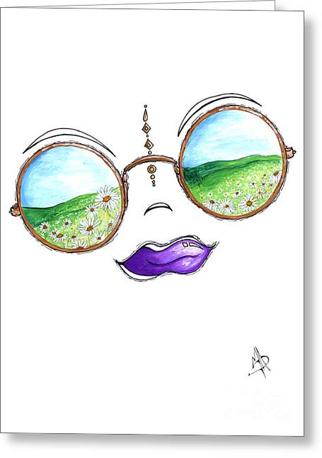 Boho Gypsy Daisy Field Sunglasses Reflection Design From The Aroon Melane 2014 Collection By Madart Greeting Card by Megan Duncanson