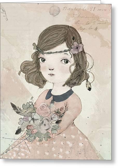 Boho Little Girl Greeting Card