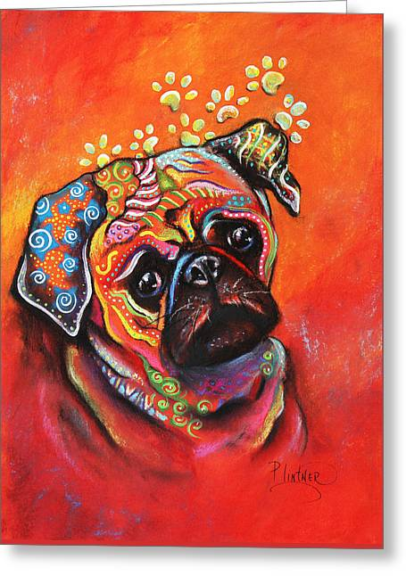 Pug Greeting Card by Patricia Lintner