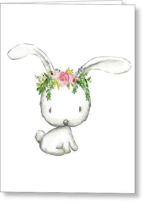 Boho Woodland Bunny Floral Watercolor Greeting Card