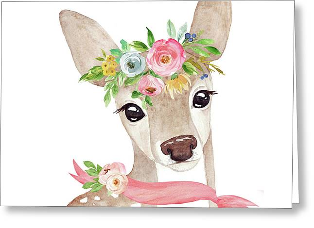 Boho Woodland Deer With Ribbon Greeting Card