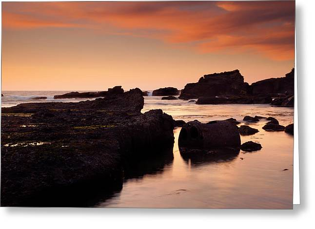 Boiler Bay Sunset Greeting Card by Mike  Dawson