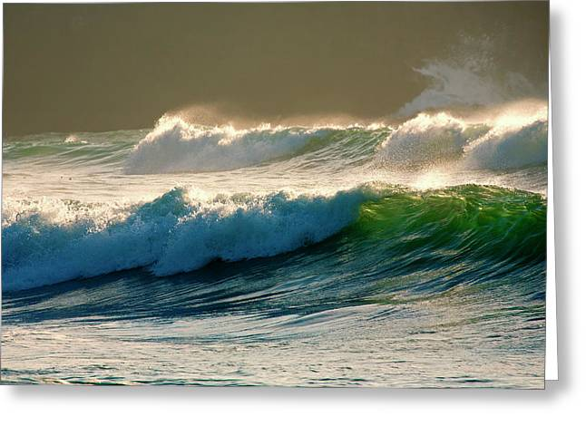 Curling Greeting Cards - Boiler Bay Waves Rolling Greeting Card by Mike  Dawson