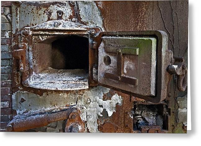Boiler Door Greeting Card by Murray Bloom