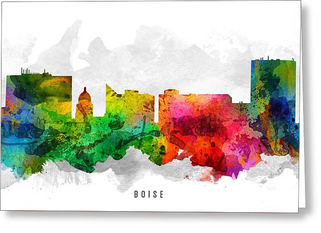 Boise Idaho Cityscape 12 Greeting Card by Aged Pixel
