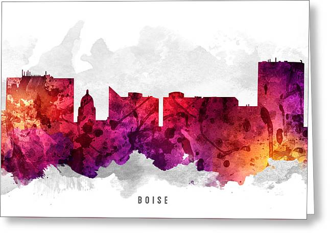 Boise Idaho Cityscape 14 Greeting Card by Aged Pixel