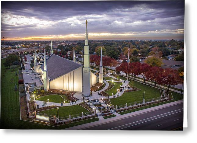 Recently Sold -  - Saint Joseph Greeting Cards - Boise Idaho LDS Temple Greeting Card by SkyBlue Photos - Rusty Hill