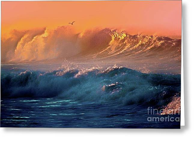 Boisterous Seas And Gull Greeting Card