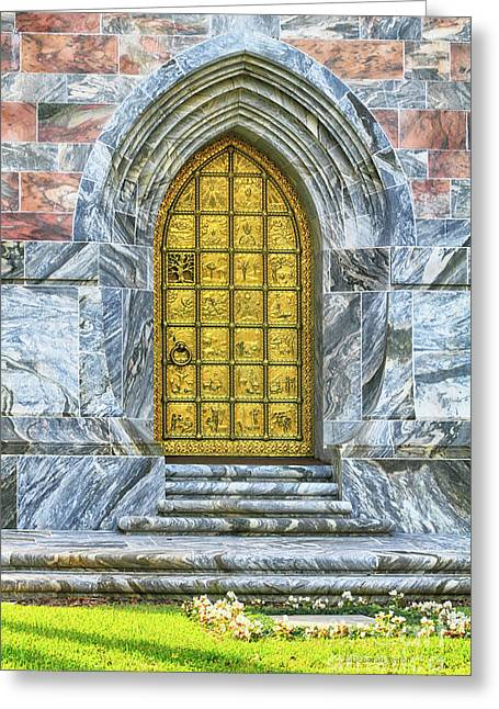 Greeting Card featuring the photograph Bok Tower Door by Deborah Benoit