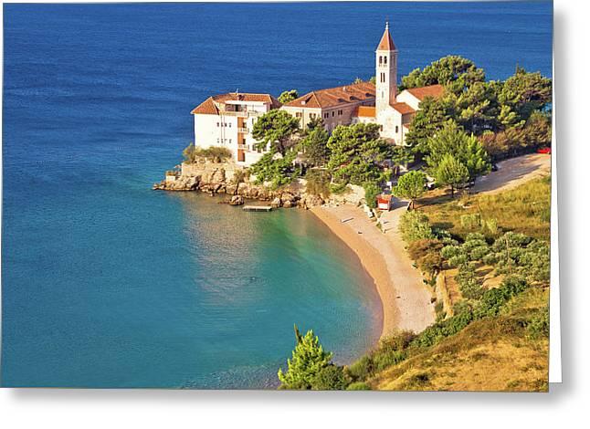 Bol Beach And Monastery Aerial View Greeting Card