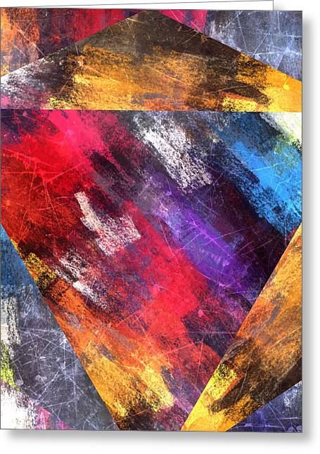 Bold Abstract Colored Pyramid Greeting Card by Brandi Fitzgerald