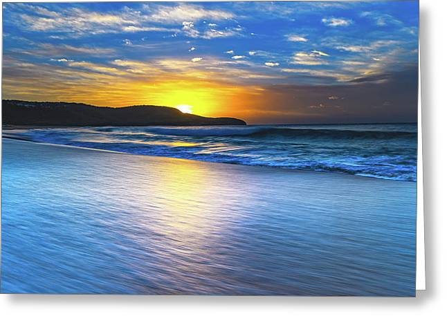 Bold And Blue Sunrise Seascape Greeting Card
