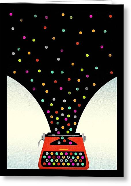 Bold And Graphic Vintage Typewriter Greeting Card by Gillham Studios