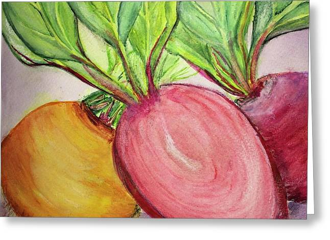 Greeting Card featuring the painting Bold Beets by Kim Nelson