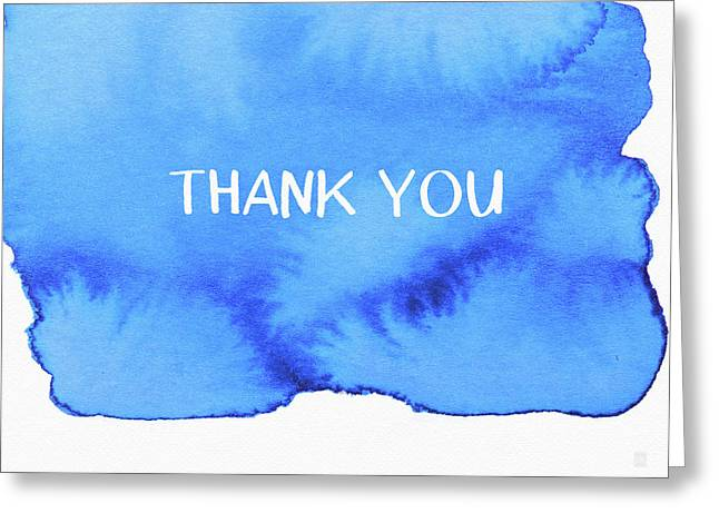 Bold Blue And White Watercolor Thank You- Art By Linda Woods Greeting Card by Linda Woods