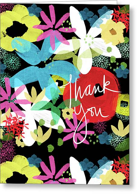 Bold Floral Thank You Card- Design By Linda Woods Greeting Card by Linda Woods