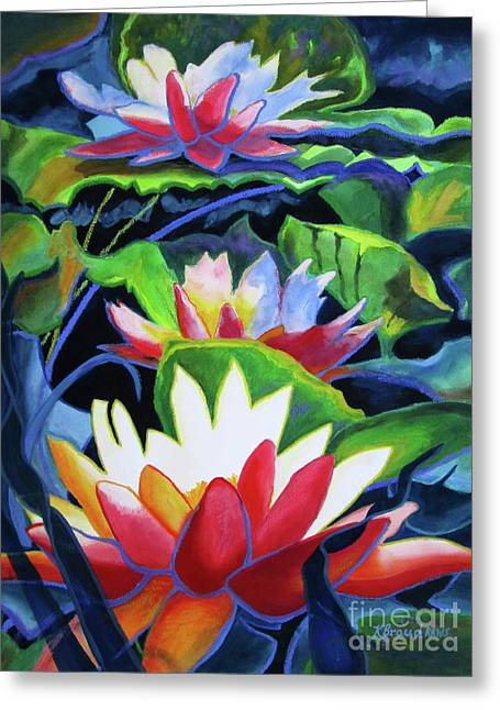 Greeting Card featuring the painting Bold Lilypads by Kathy Braud