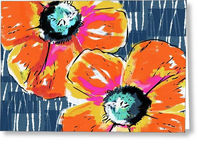 Bold Orange Poppies- Art By Linda Woods Greeting Card