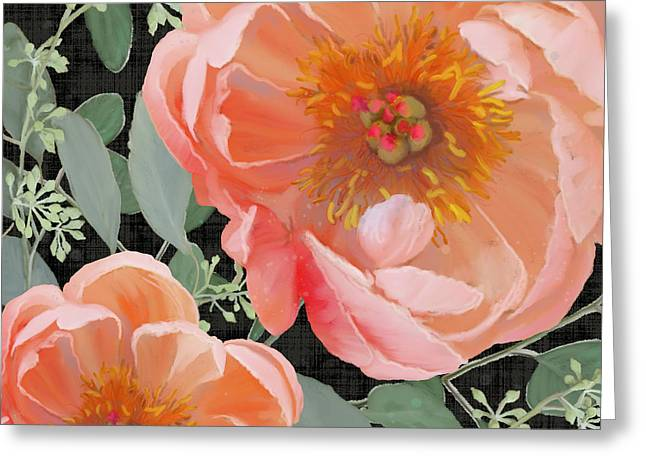 Greeting Card featuring the painting Bold Peony Seeded Eucalyptus Leaves by Audrey Jeanne Roberts