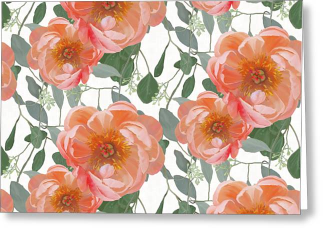 Greeting Card featuring the painting Bold Peony Seeded Eucalyptus Leaves Repeat Pattern by Audrey Jeanne Roberts
