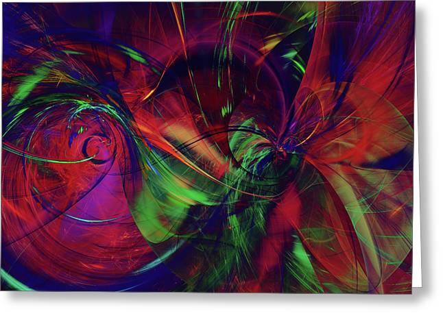 Greeting Card featuring the digital art Bold Red by Deborah Benoit