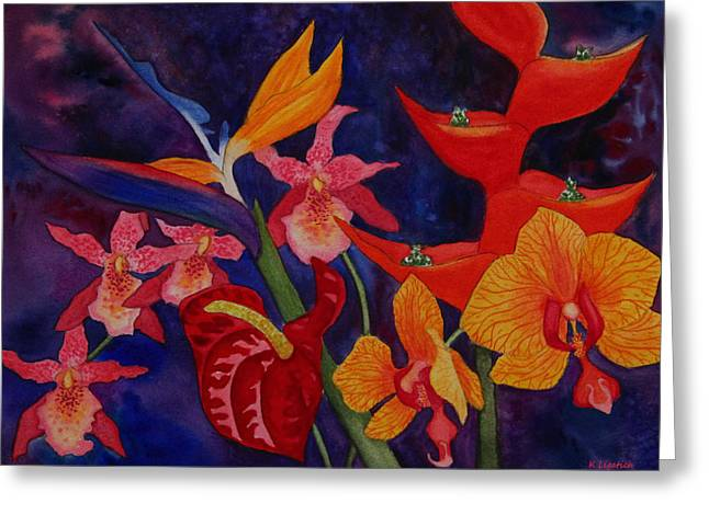 Greeting Card featuring the painting Bold Tropical Flowers by Kerri Ligatich