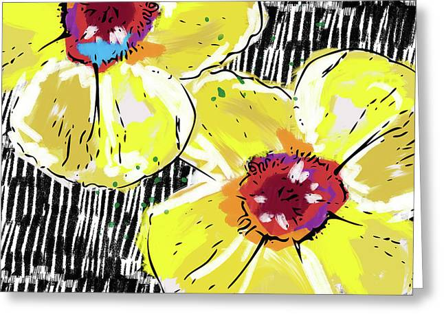 Greeting Card featuring the mixed media Bold Yellow Poppies- Art By Linda Woods by Linda Woods