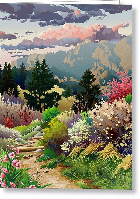 Recently Sold -  - Sunset Posters Greeting Cards - Bolder Boulder 10K Poster 2007 Greeting Card by Anne Gifford