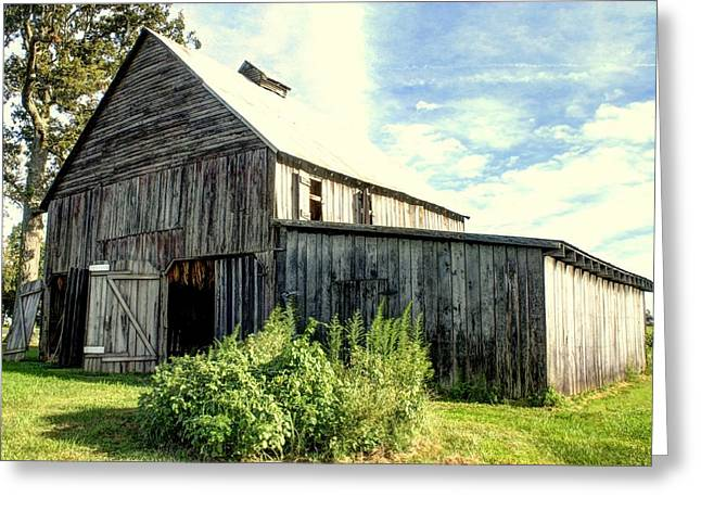 Boley Barn Greeting Card by Angela Comperry