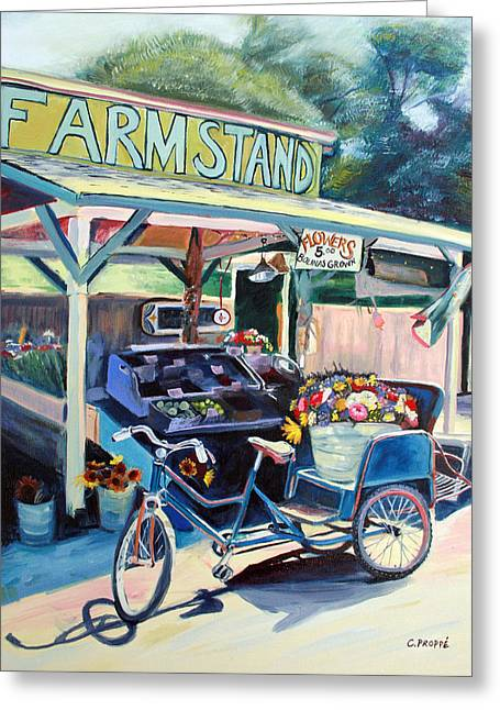 Bolinas Farmstand Bike Greeting Card by Colleen Proppe